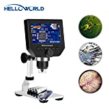 World Optical Portable Digital Microscope 3.6MP 1-600X Zoom 4.3'' LCD Microscope 1080P Image Sensor with 8 LED Adjustable Light,Rechargeable Lithium Battery and Metal Stand for Cellphone PC Industrial