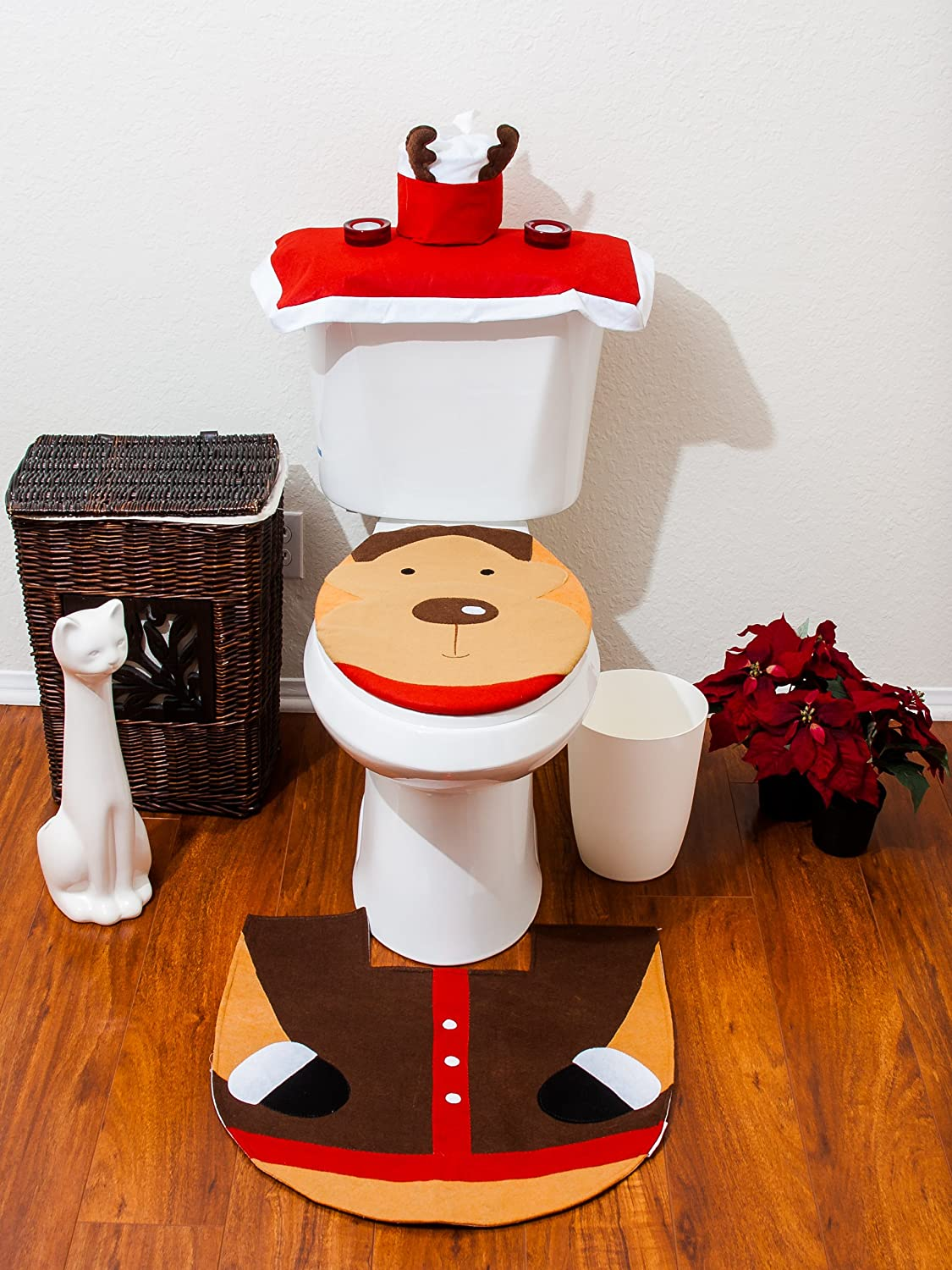 Christmas Bathroom Toilet Cover and Rug Set
