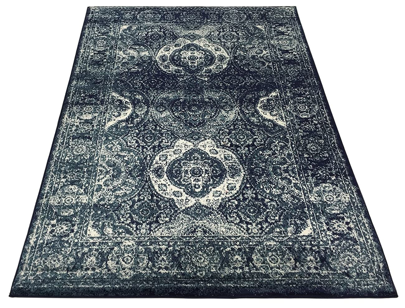 Studio Collection Vintage French Aubusson Design Contemporary Modern Area Rug Rugs 3 Different Color Options (Aubusson Navy Blue, 5 x 7) 5