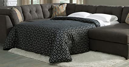 Ashley Delta City Polyester Sleeper Sofa in Steel