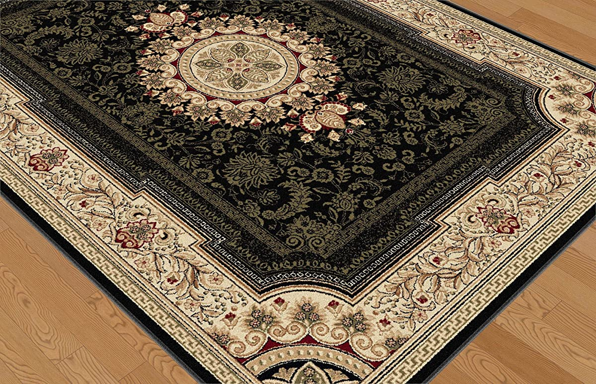 Universal Rugs Jayden Traditional Oriental Black Octagon Area Rug, 6 Octagon
