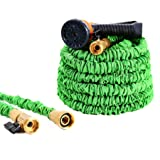 Ohuhu Expandable Garden Hose, ALL NEW 50 FT Expanding Water Hose, Lightweight Flexible Hose With 3/4 Solid Brass Fittings & 8 Function High Pressure Spray Nozzle (Color: Green, Tamaño: 50 ft)