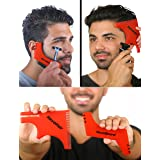 RevoBeard & RevoHair - Beard Shaping & Haircut Tool - For Hairline Lineup, Edge up - Template/Stencil for Trimming Beard, Mustache, Goatee, Neckline - Great Barber Supplies - Men's Grooming Kit (Color: Red)