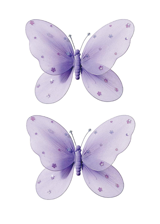 2-teilig Schmetterling für Mädchen-Kinderzimmer Dekoration zum Aufhängen, Schmetterling-Wanddeko für Geburtstag, Babyparty oder Hochzeit, Größe LARGE LILA online kaufen