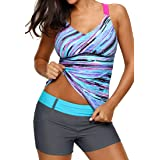 Aleumdr Womens 2018 Juniors Printed Strappy Racerback Padded Blouson Tankini Swim Top No Bottom Plus 2XL Size Blue (Color: Blue, Tamaño: XX-Large(fits like US18-20))