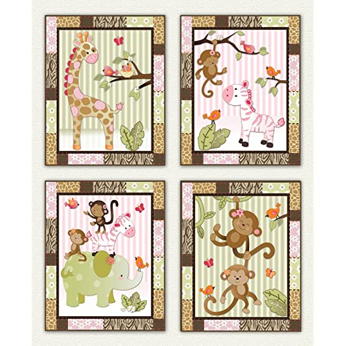Little Jungle Jilly - Pink and Green Jungle Animal Nursery Art Prints (8x10 (4) Set of Four)