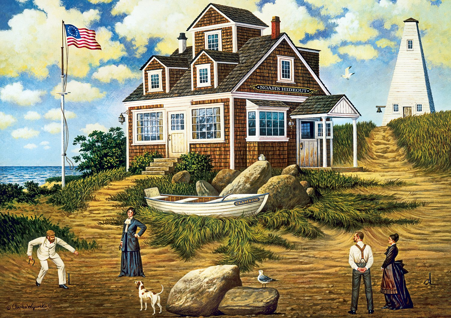 Buffalo Games A Delightful Day on Spark Hawk Island by Charles Wysocki Jigsaw Puzzle (300 Piece), Large