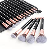 Anjou Makeup Brush Set, 16pcs Premium Cosmetic Brushes for Foundation Blending Blush Concealer Eye Shadow, Cruelty-Free Synthetic Fiber Bristles, PU Leather Roll Clutch Included, Rose Golden (Color: Rose Gold, Tamaño: 16pcs Makeup Brush)