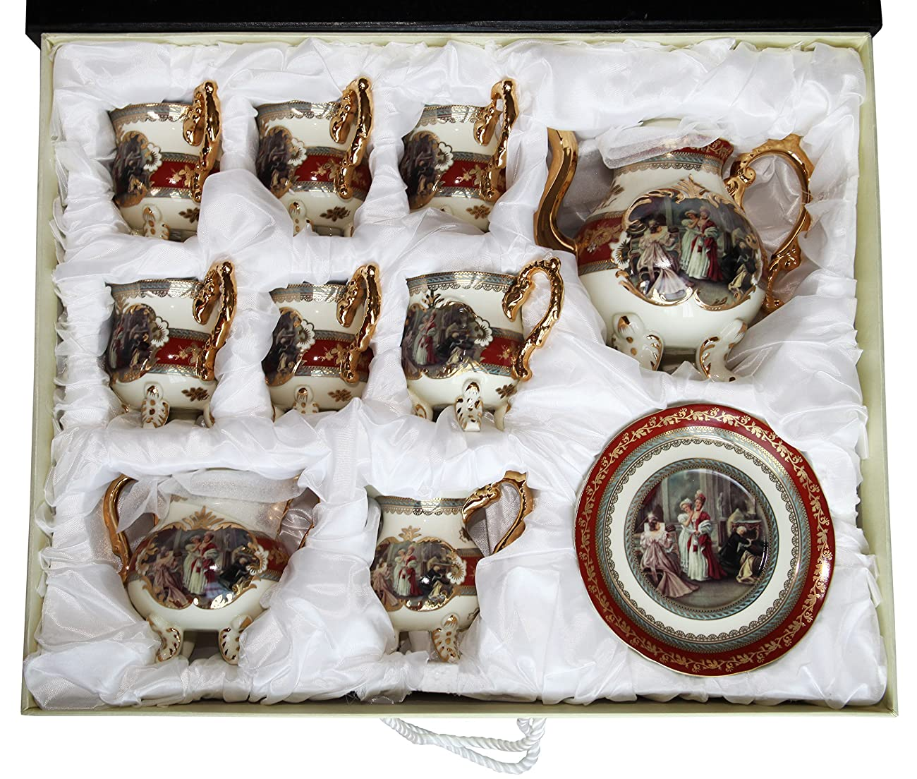 Royal Porcelain 15-Piece Antique RED Vintage Dining Tea Cup Set, Service for 6, Handmade & Hand-Painted, 24K Gold Bone China Tableware 6