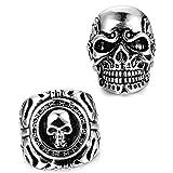 FUNRUN JEWELRY 2 PCS Stainless Steel Ring for Men Teens Skull Biker Ring (10)