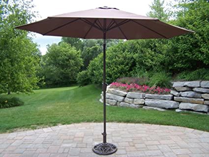Oakland Living Umbrella with Crank/Tilt, 9-Feet, Brown