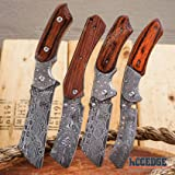 Wartech Buckshot Knives 4PC Combo Set 1PC Fixed Blade Cleaver + 3PC Assisted Open Cleaver Pocket Knife Damascus Etched Blade Hunting Camping Razor Blade