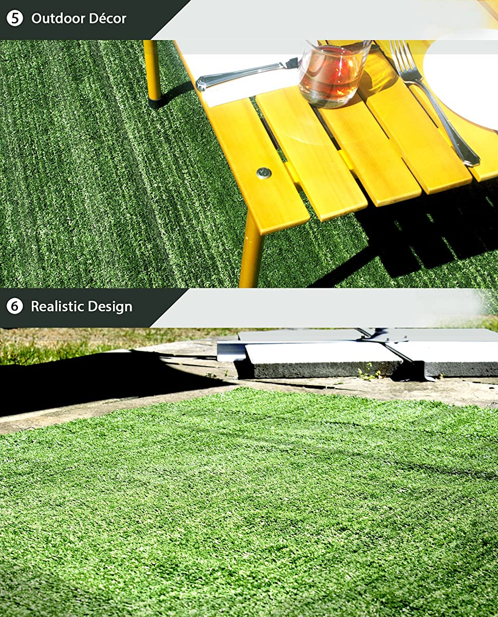 """Artificial Grass Area Rug – Grass Height: 0.4"""" - Size: 4-feet x 6-feet - Perfect Color/Sizing for Any Indoor/Outdoor Uses and Decorations!"""