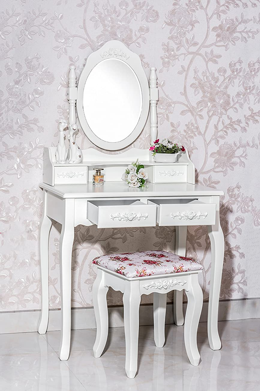 Gorgeous White Label Nefertiti Vanity Table with free stool (4 Drawer) 2