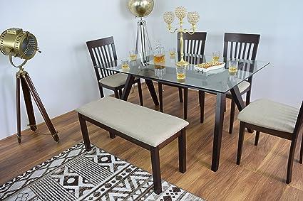 Nuevo Rectangular moderno de cristal mesa de comedor 4sillas con banco de madera maciza muebles de cocina de madera Cena cuadros Diner Rectangular conjuntos