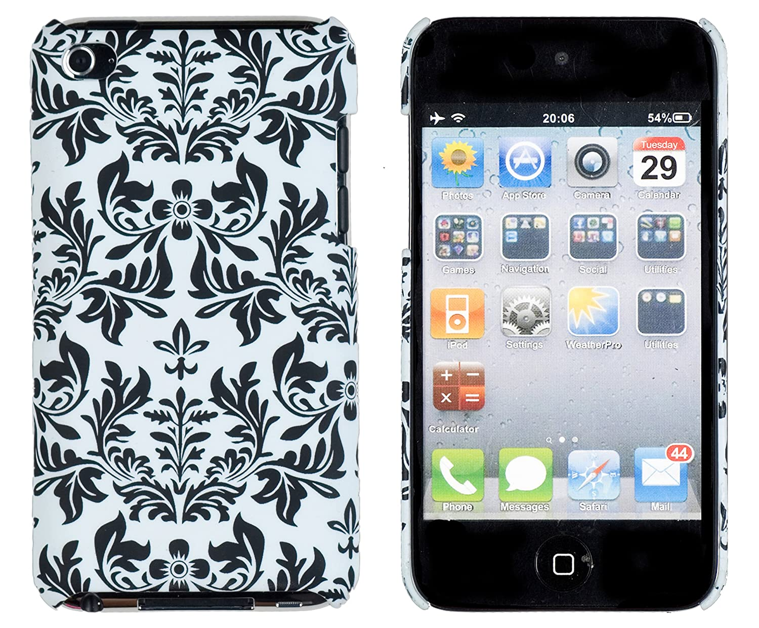 Black Flower Embossed Hard Case for Apple iPod Touch 4, 4G (4th Generation)