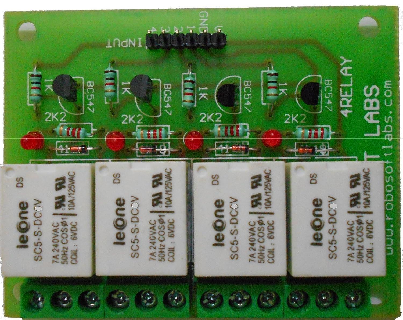 Robosoft Labs 4 Channel +12v Relay Board Module For 8051 Pic Avr Arm  Arduino Avrduinorasp Pi: Amazon: Electronics