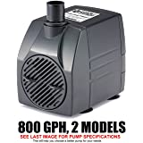 PonicsPump PP80016: 800 GPH Submersible Pump with 16' Cord - 60W… for Hydroponics, Aquaponics, Fountains, Ponds, Statuary, Aquariums, Waterfalls & more. Comes with 1 year limited warranty. (Color: Black, Tamaño: 800 GPH : 16' Cord)