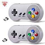 2 Pack 2.4 GHz Wireless USB Controller Compatible with Super Famicom Games, iNNEXT SNES Retro USB Classic Controller Joypad Joystick for Windows PC MAC Linux Raspberry Pi (Multi-Colored Keys) (Color: Multi-Colored Keys)
