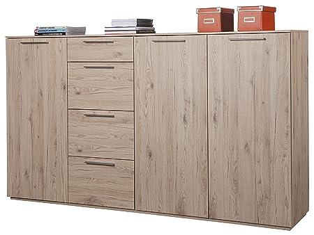 Base estancia de tres puertas y estanterías regulables y 4 cajones, color roble con acabado madera natural.