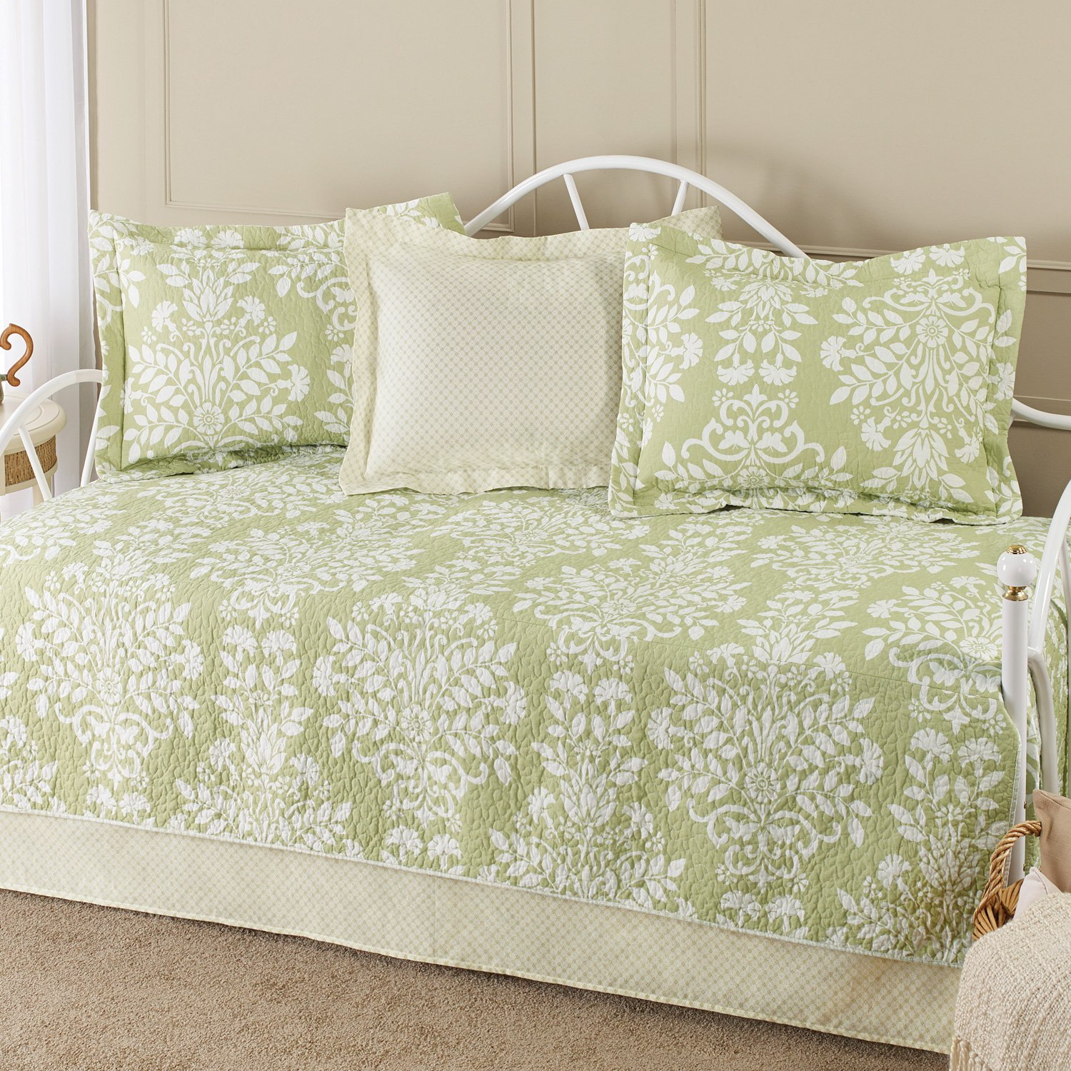 Laura Ashley 5-Piece Cotton Daybed/Quilt Twin Set, Green