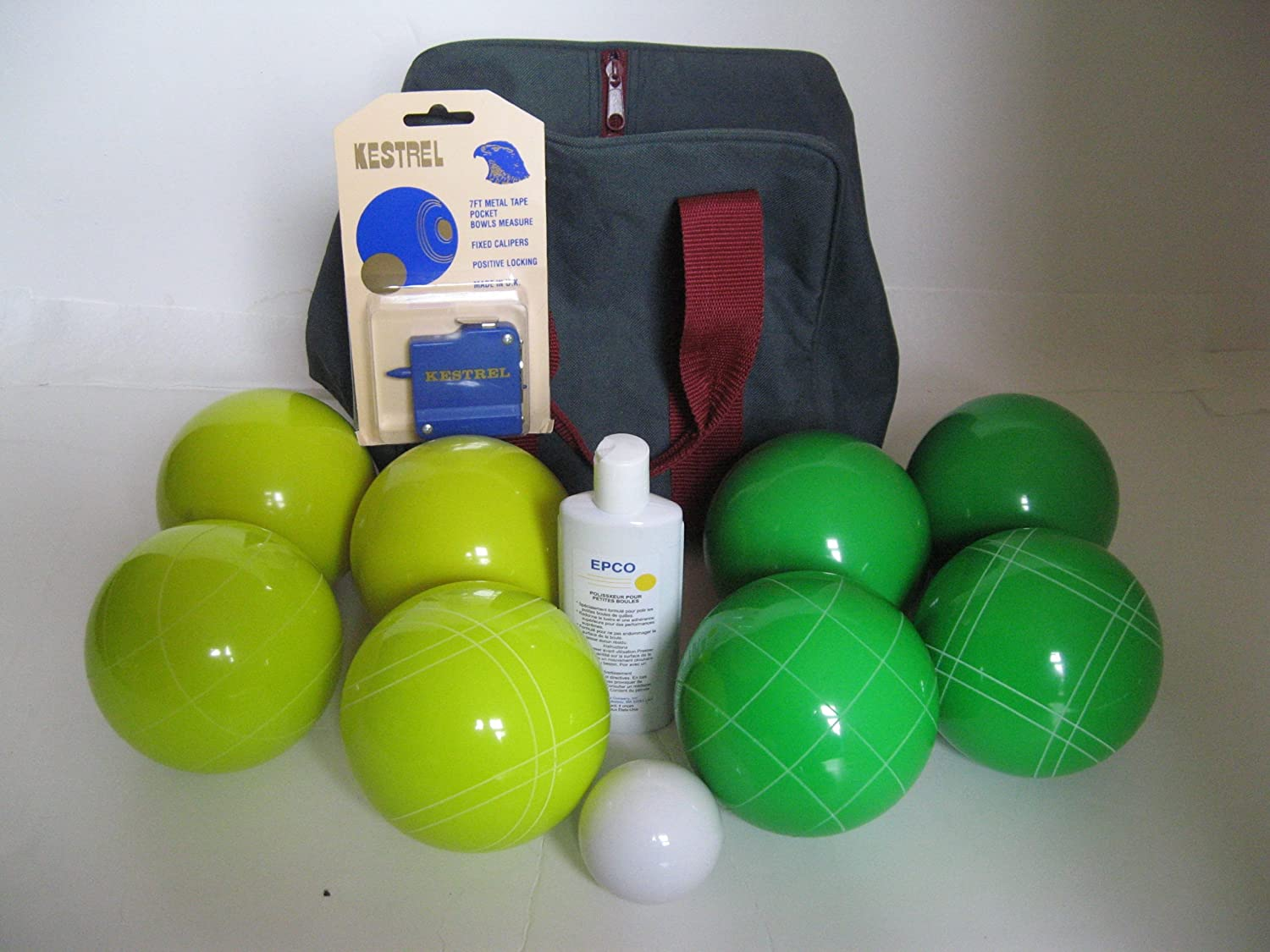 Premium Quality Basic EPCO Bocce package - 107mm Yellow and Green balls, qual...