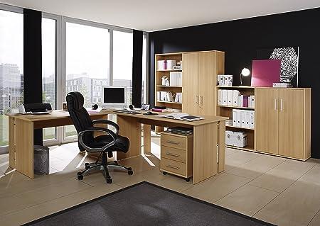 Buromöbel Set Buro Möbel Arbeitszimmer mit 1 Eckschreibtisch, 2x Aktenschrank, 2x Regal und 1x Rollcontainer im Dekor Buche