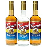 Torani Coffee Syrup Variety Pack - Vanilla, Caramel, Hazelnut, 3-Count, 25.4-Ounce Bottles (Tamaño: 25.4 Ounces)