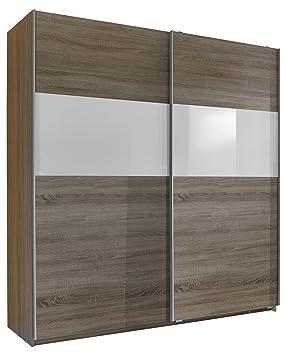 Wimex 126771 Schwebeturenschrank Front Anthrazit, Korpus Alu-Nachbildung, Absetzung Glas, 180 x 198 x 64 cm, schwarz