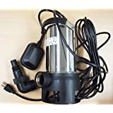 Submersible Water Pump Stainless Steel 1HP 10000 L/H Trash Clean Water Flooding Pool Garden