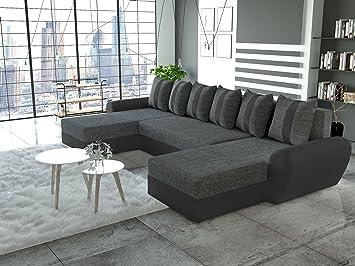 Canapé d'angle panoramique convertible TIGER tissu gris et simili cuir noir