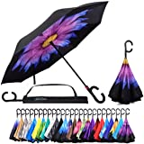 Reverse Inverted Inside Out Umbrella - Upside Down UV Sun Protection Windproof Brella That Open Better Than Most Umbrellas, Reversible Folding Double Layer, Suitable for Golf, Car, Women and Men (Color: Purple Daisy, Tamaño: 23 Inch X 8 Panels)
