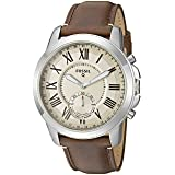 Fossil Q Men's Grant Stainless Steel and Leather Hybrid Smartwatch, Color: Silver-Tone, Brown (Model: FTW1118) (Color: Silver, Brown)