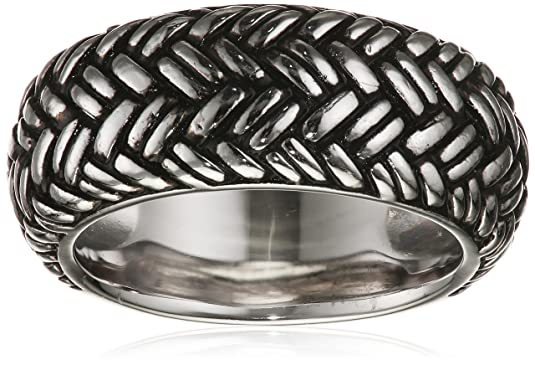 Caï Men's Survival Mountain Partially Rhodium-Plated 925 Sterling Silver Ring 58 (18.5) C4208R/90/00/58