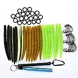 ALUNAR Fishing Lures Kit Mixed Magnum Finesse Wacky Worm Kits with Rig Tool, Wacky Rig O-Rings Wacky Hooks and Senko Soft Baits Fishing Accessories Set with Tackle Box (Wacky Worm Kits Kit 5)