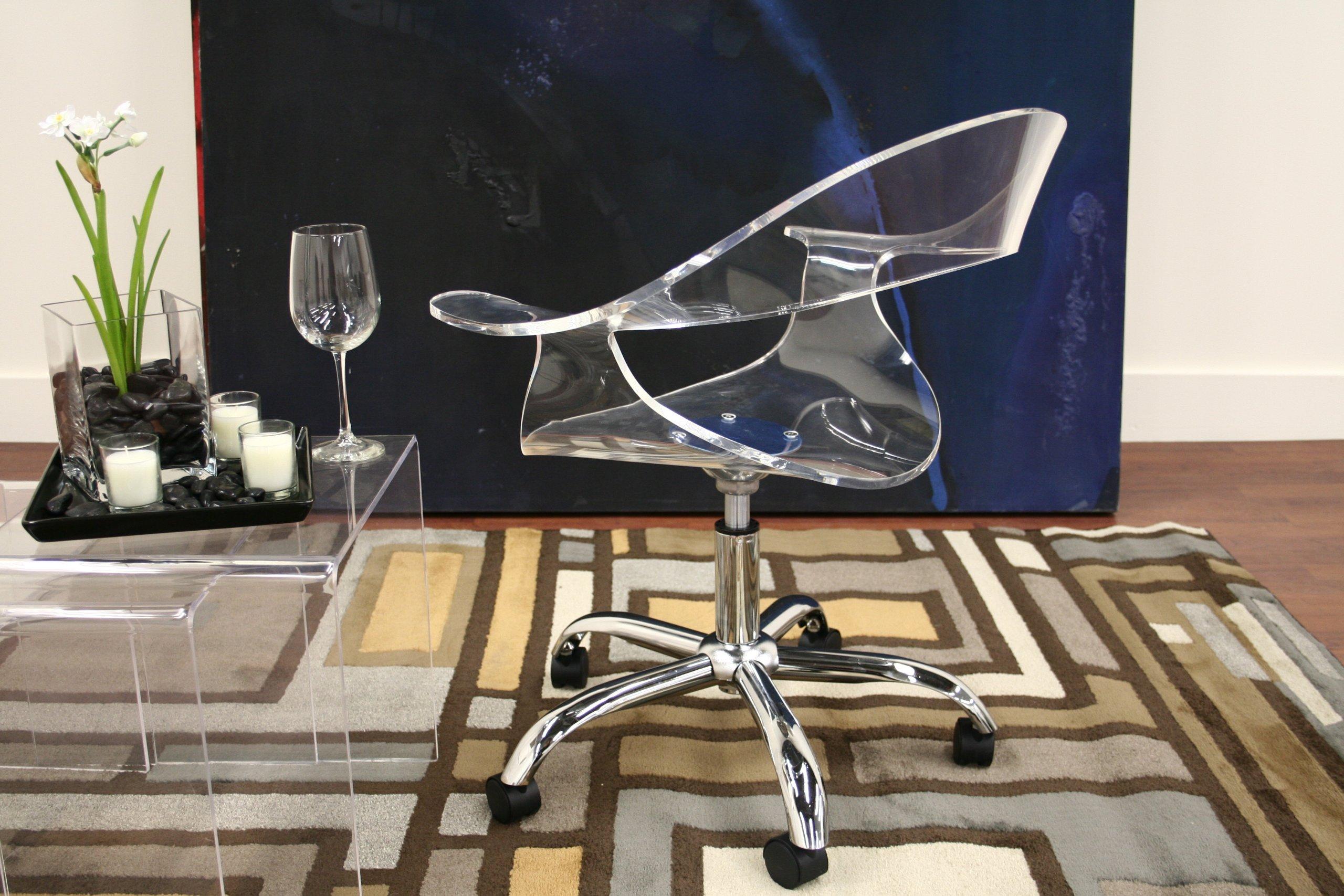 Baxton Studio KERR Acrylic Swivel Chair  FurnitureNdecorcom