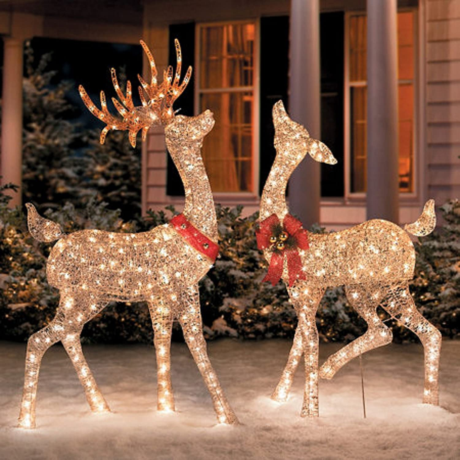 Glittering Champagne Reindeer Holiday Christmas Outdoor Decorations
