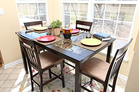 6 Person Table - 5pc Square Marble Espresso Counter Height 4 Dining Table & Chair Set