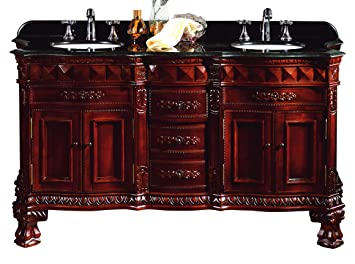 OVE Decors BuckinghamDBL-VB Double Vanity with Granite Countertop and Ceramic Double Basins, 60-1/5-Inch Wide, Dark Cherry