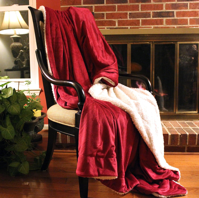 Tache Holiday Red Super Soft Warm Sherpa Micro Fleece Throw Blanket