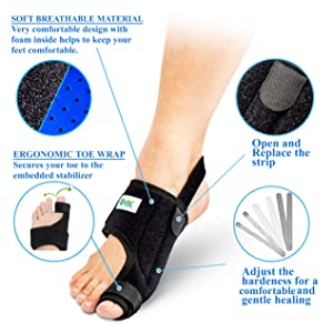 NYPOT Premium Bunion Corrector and Bunion Relief - Big Toe Support, Orthopedic Bunion Splint, Toe Straightener for Women,Bunion Brace, Hallux Valgus Corrector, Day/Night Bunions Pain Relief (Color: Black)