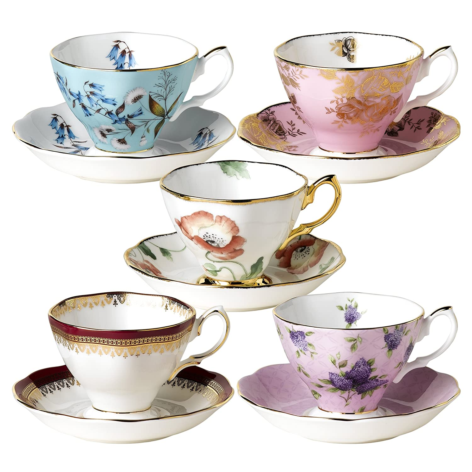 Royal Albert Teacups and Saucers, Set of 5, 1950-1990