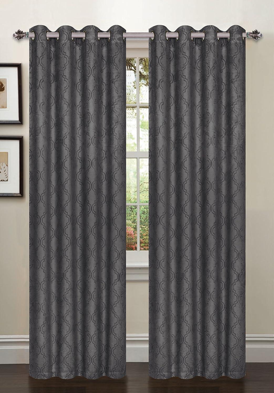 Bella Luna Newbury Lattice Blackout Grommet 76 x 84 in. Curtain Panel Pair, Charcoal