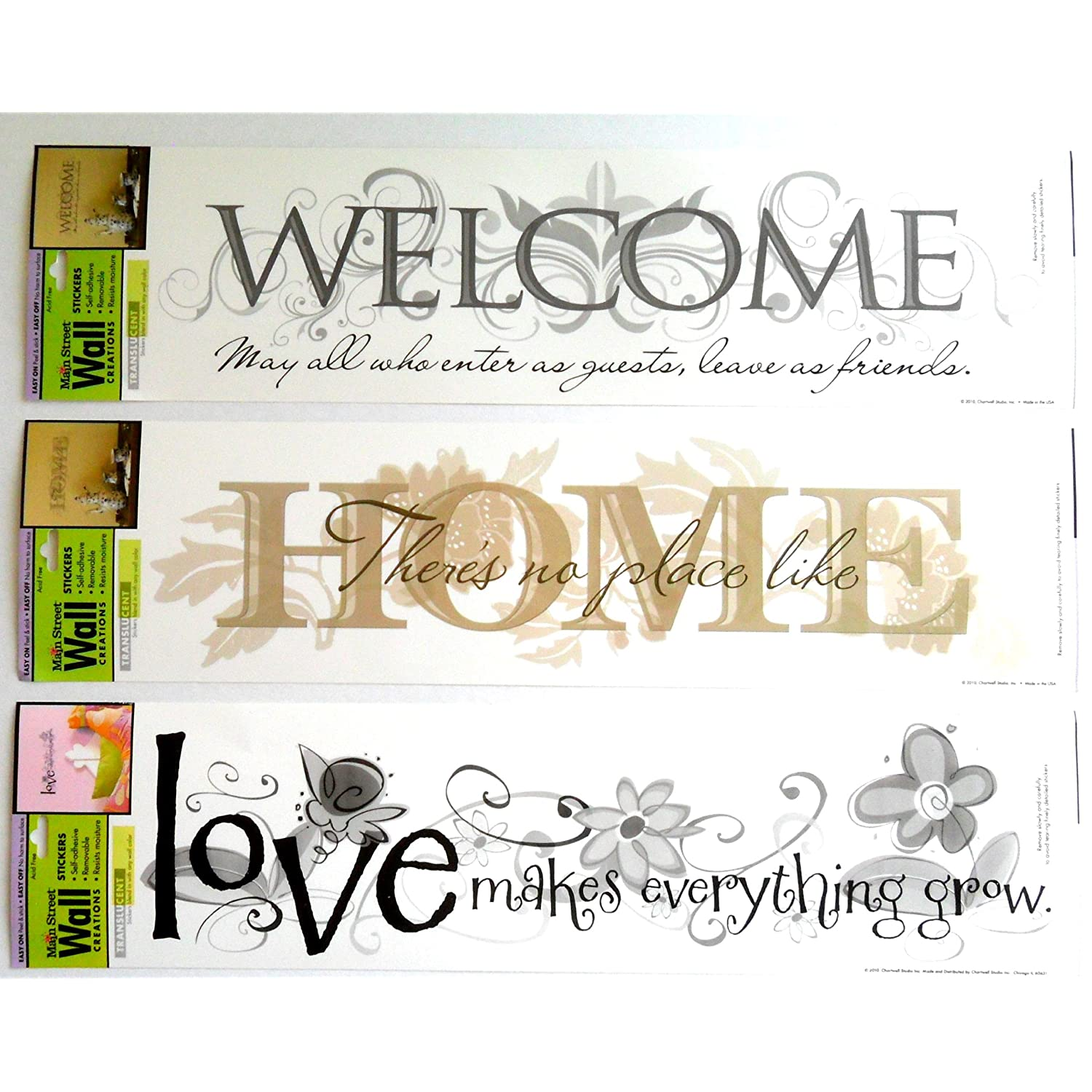 Wall Sticker Art Applique Set of 3 Home Sweet Home, Welcome, Love