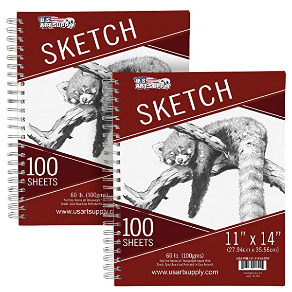 U.S. Art Supply 11 x 14 Side Spiral Bound - 60lb Sketch Drawing Pad (Pack of 2 Pads) - 100 Sheets in Each Sketch Paper Pad (Tamaño: 11 x14)