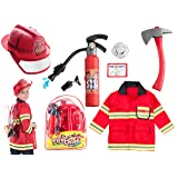 (8 PC) Premium Fireman Costume and accessories With Real Water Shooting Extinguisher and Knapsack by Born Toys