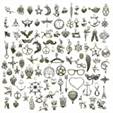 100g (about 100pcs) Craft Supplies Small Antique Silver Charms Pendants for Crafting, Jewelry Findings Making Accessory For DIY Necklace Bracelet (Antique Silver Charms) (Color: Antique Silver Charms)