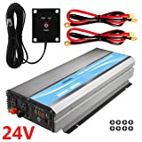 GIANDEL 3000W Power Inverter 24V DC to 120V AC with 20A Solar Charge Control and 2xAC 110-120V US Outlets and 1x2.4A USB and Remote Control