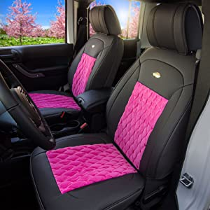 FH Group Pink//Black PU204PINKBLACK102 Victorian Style Luxurious Leatherette Cushion Pad Seat Covers-Fit Most Car SUV Truck or Van