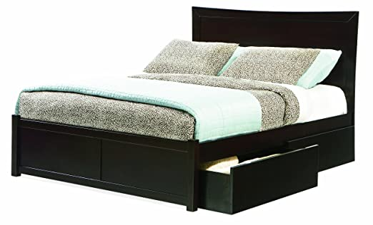 Miami Full Platform Bed with Flat Panel Footboard, Espresso with 4 Flat Panel Bed Drawers